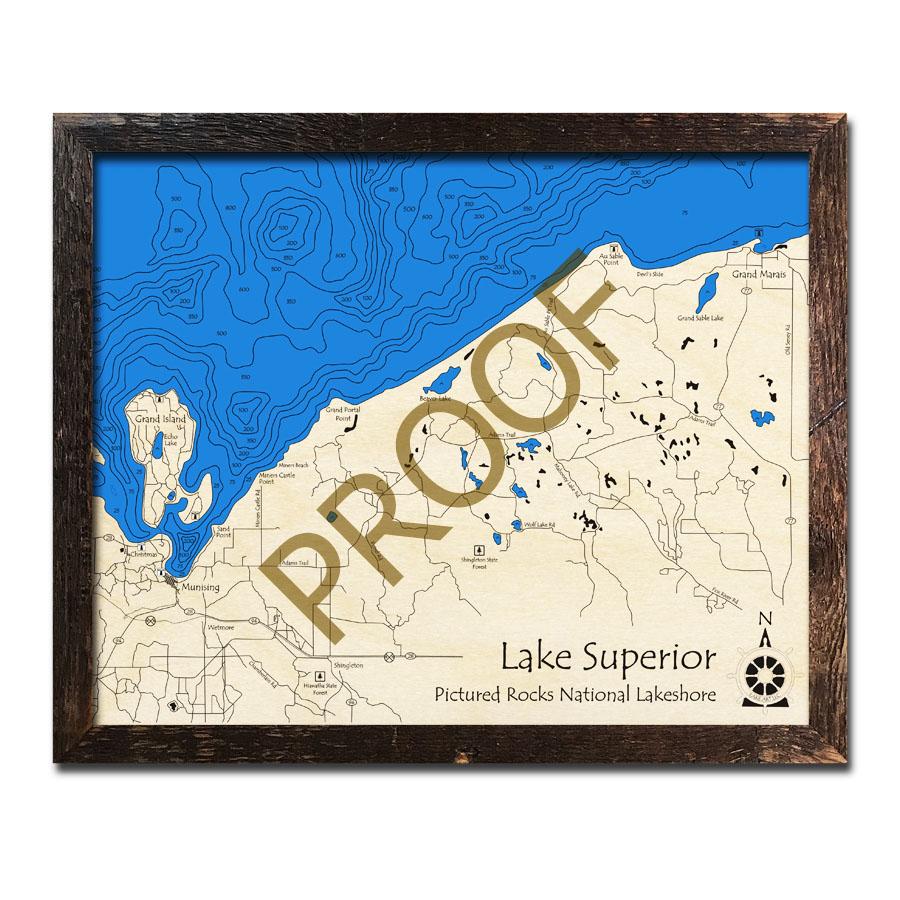 Picture Rocks Michigan Map.Pictured Rocks National Lake Shore Mi 3d Wood Topo Map