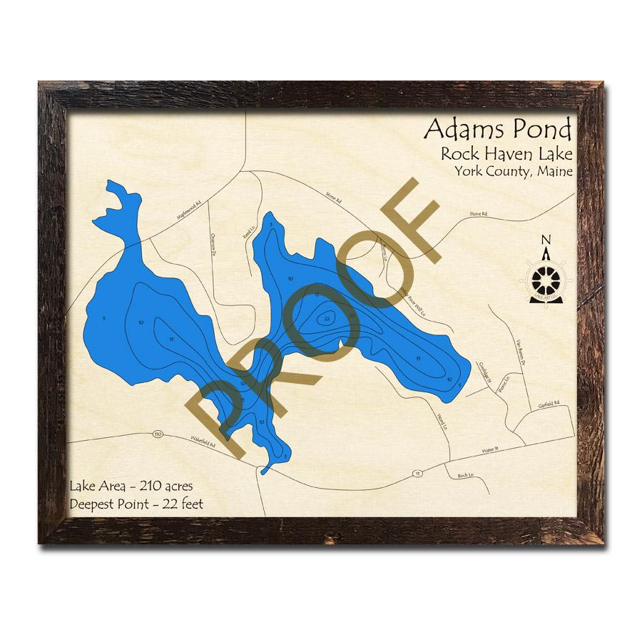Adams Pond Rock Haven Lake Me 3d Wood Topo Map