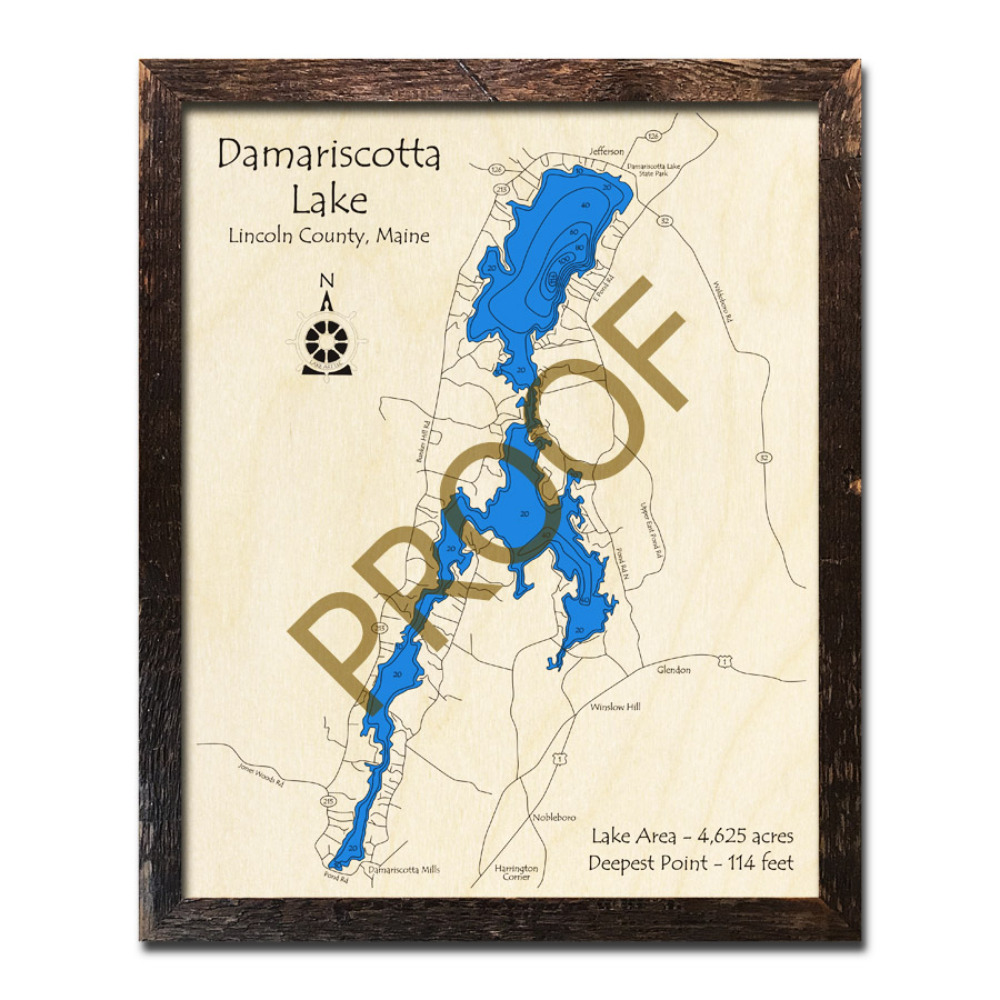 Jefferson Maine Map.Damariscotta Lake Me 3d Wood Topo Map