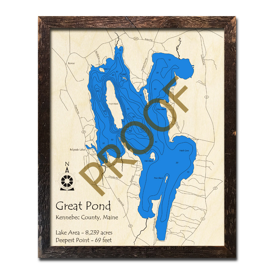 Great Pond Me 3d Nautical Wood Maps