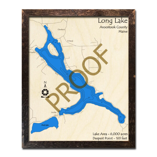 Long Lake Me 3d Nautical Wood Maps