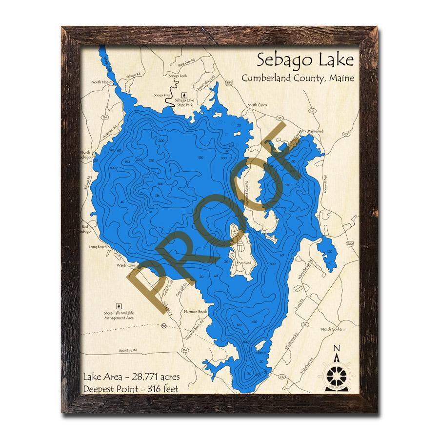 Sebago Lake, ME 3D Nautical Wood Maps on surry mountain lake map, pittsfield lake map, mexico lake map, bedford lake map, flagstaff lake map, mooselookmeguntic lake map, china lake map, jaffrey lake map, sebasticook lake map, little sebago map, maine map, massachusetts map, lake easton state park campground map, sperry lake map, sebago state park map, diamond valley lake map, point sebago map, lake wallenpaupack map, clarks lake map, gardner lake map,