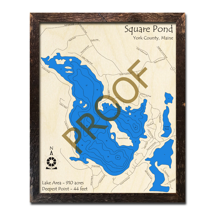 Topo Map Of Maine.Square Pond Me 3d Wood Topo Map
