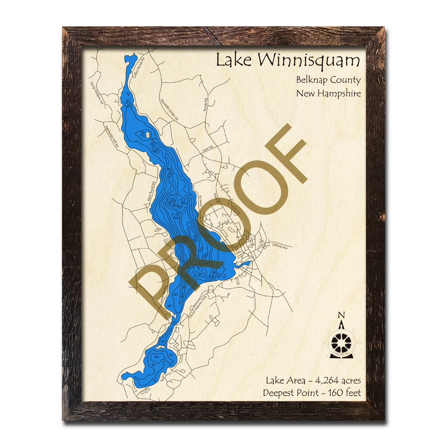map of lake winnisquam nh Lake Winnisquam Nh 3d Wood Topo Map map of lake winnisquam nh