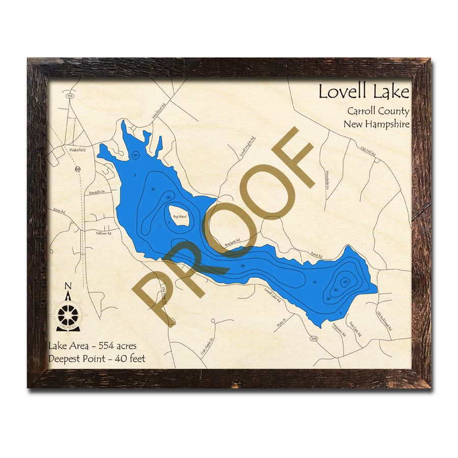 Lovell Maine Map.Lovell Lake Nh 3d Wood Topo Map