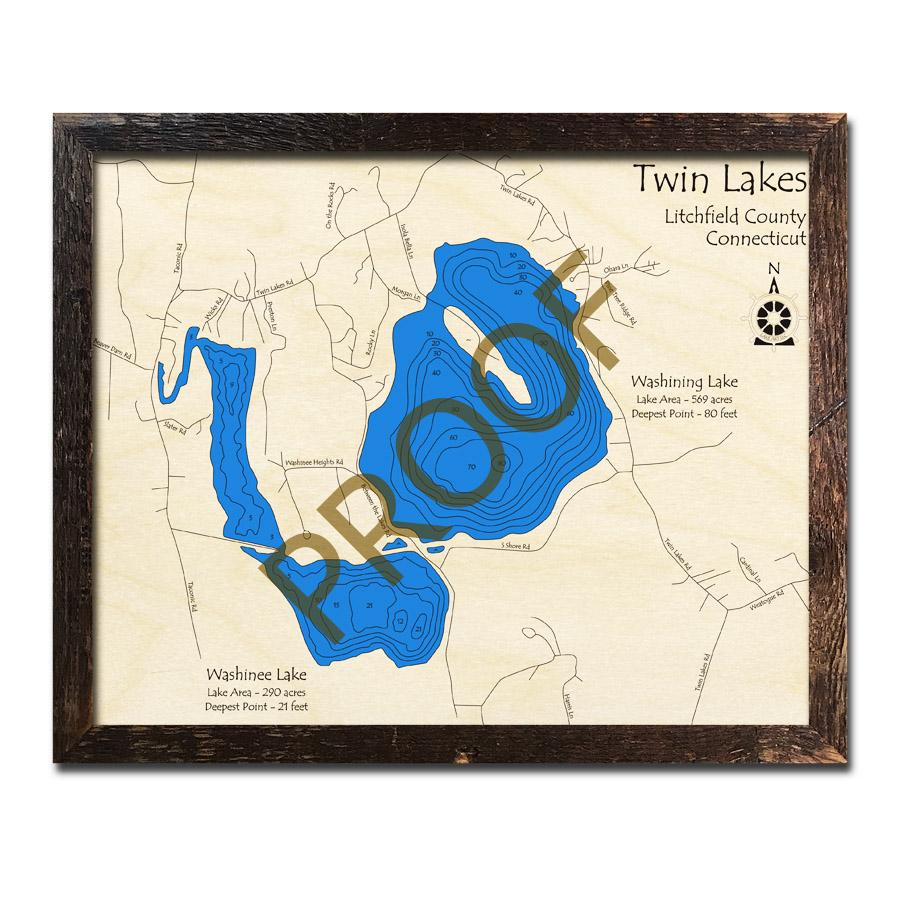Twin Lakes (Washinee and Washining Lakes), CT 3D Wood Maps