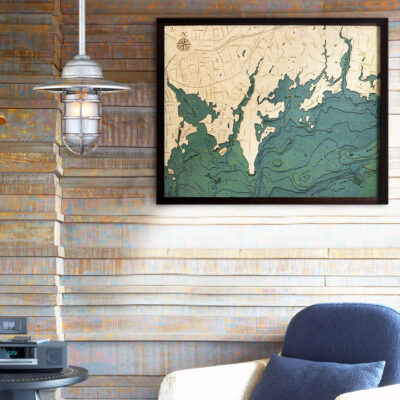 Darien CT Long Island Sound Wood Map