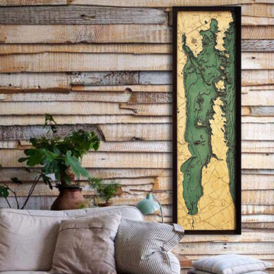 Door Peninsula Green Bay wood map in 3d