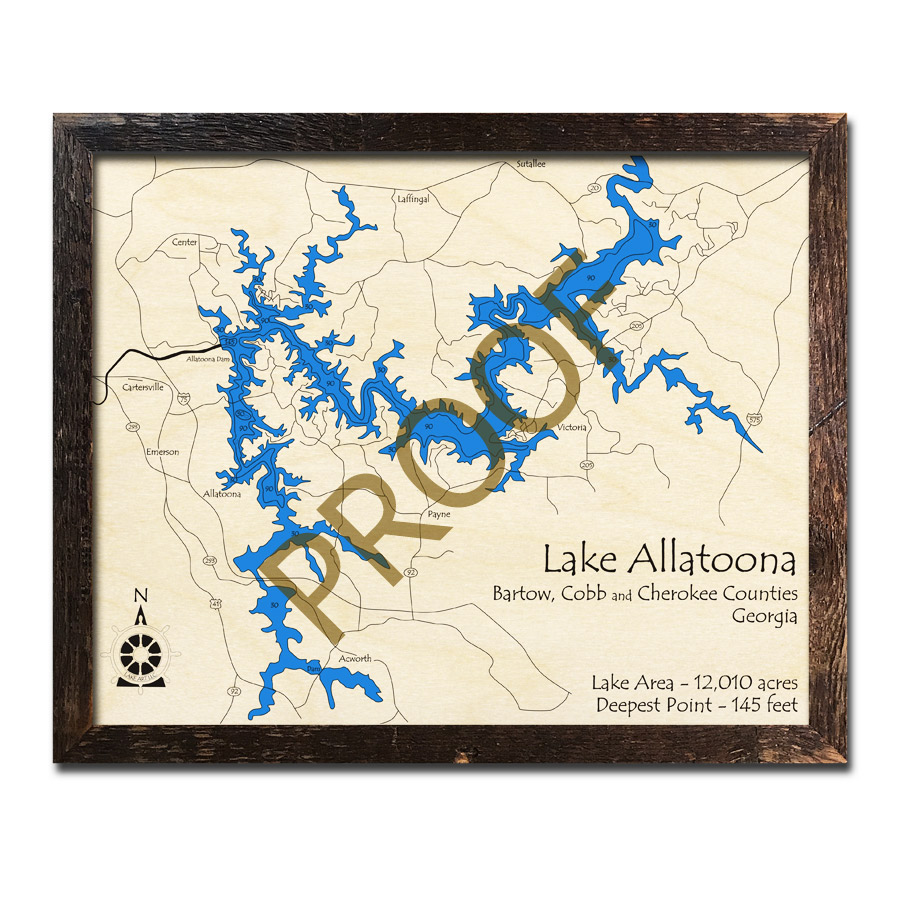 Lake Allatoona, GA 3D Wood Map, Nautical Wood Chart