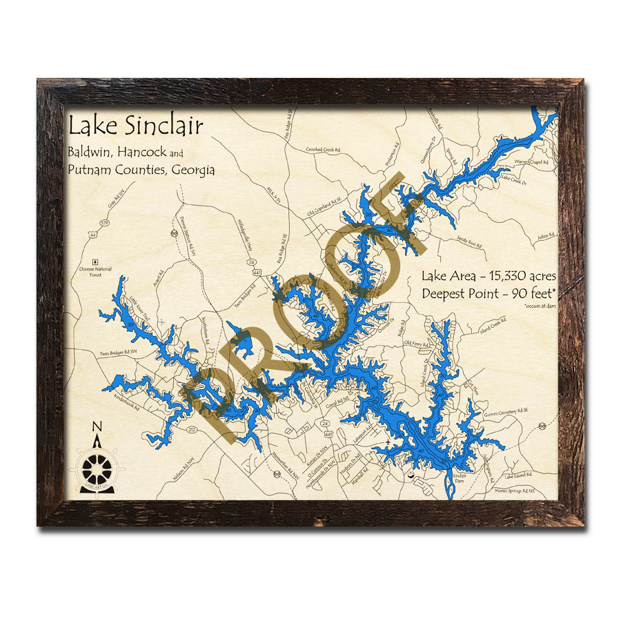 Lake Sinclair, GA 3D Wood Map, Nautical Wood Chart on vintage topo map, united states topo map, cedar creek topo map, lake sinclair georgia map, oconee national forest topo map, ga power lake sinclair map, lake sinclair history,
