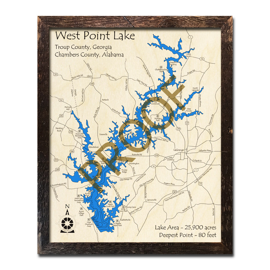 West Point Lake Map West Point Lake (GA/AL) 3D Wood Map, Nautical Wood Chart