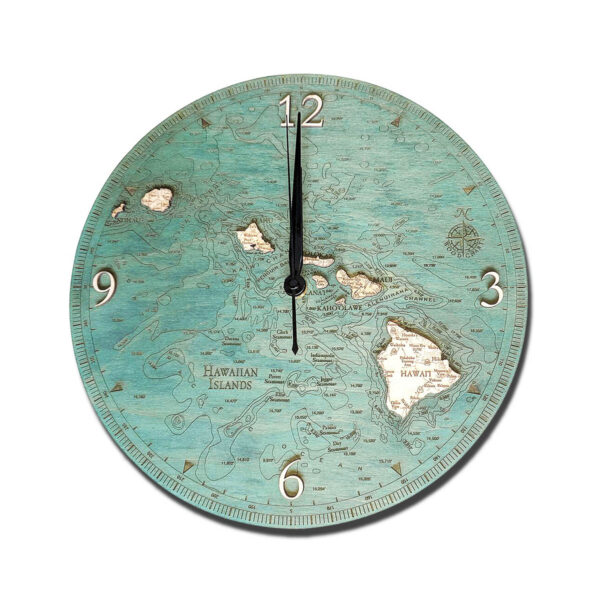 Hawaiian Islands Wood Clock