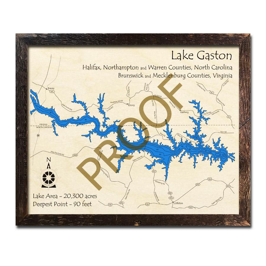 Gaston Nc Map.Lake Gaston Nc 3d Wood Map