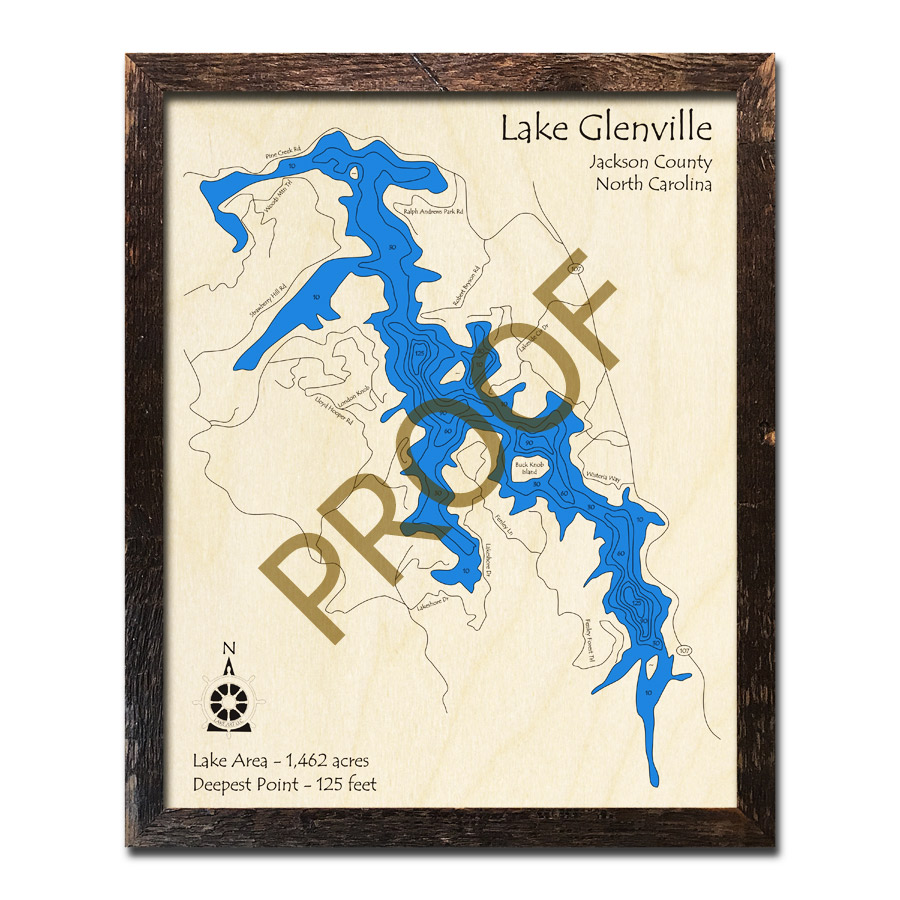 lake glenville nc map Lake Glenville Nc 3d Wood Map lake glenville nc map
