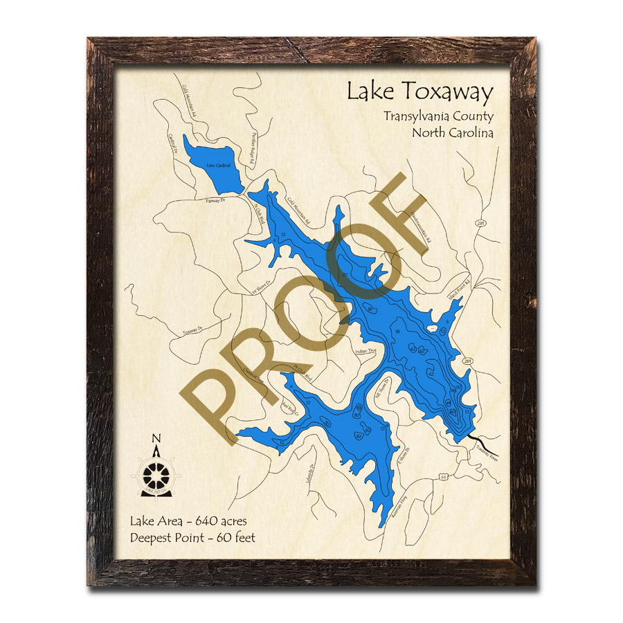 Lake Toxaway, NC 3D Wood Map