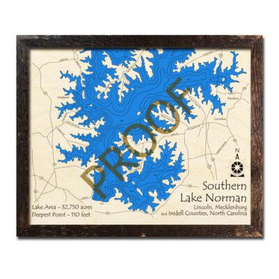 Lake Norman Wood Map
