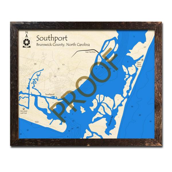 Southport NC Wood Map