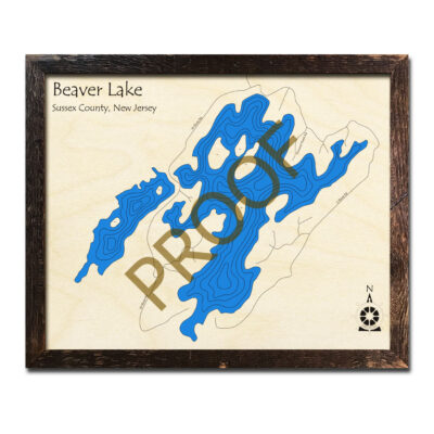 New Jersey Wood Map of Beaver Lake