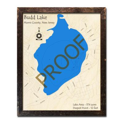 New Jersey Wood Map of Budd Lake