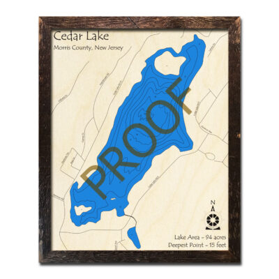 New Jersey Wood Map of Cedar Lake
