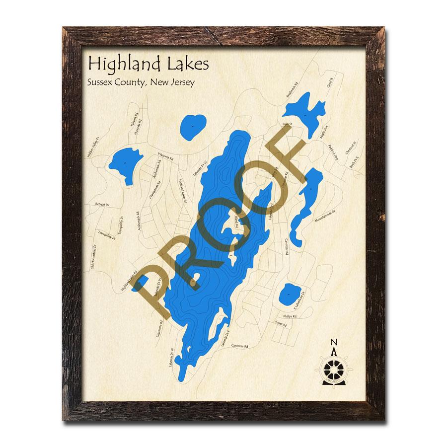 highland lakes nj map Highland Lakes New Jersey 3d Nautical Wood Maps highland lakes nj map