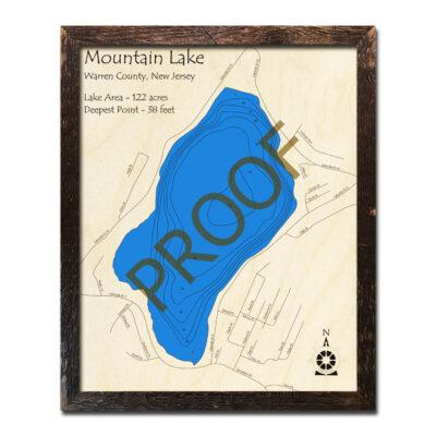 New Jersey Wood Map of Mountain Lake