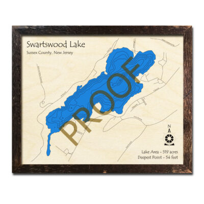 New Jersey Wood Map of Swartswood Lake