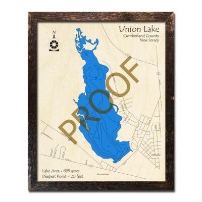 New Jersey Wood Map of Union Lake