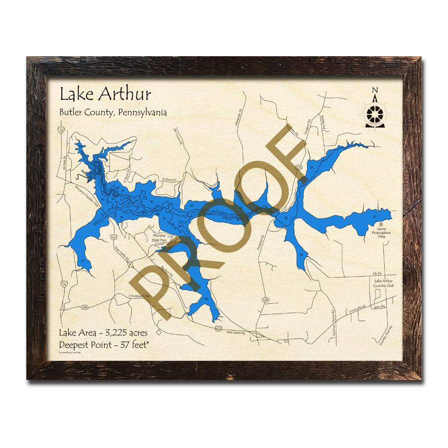 map of lake arthur pa Lake Arthur Pa 3d Nautical Wood Maps map of lake arthur pa