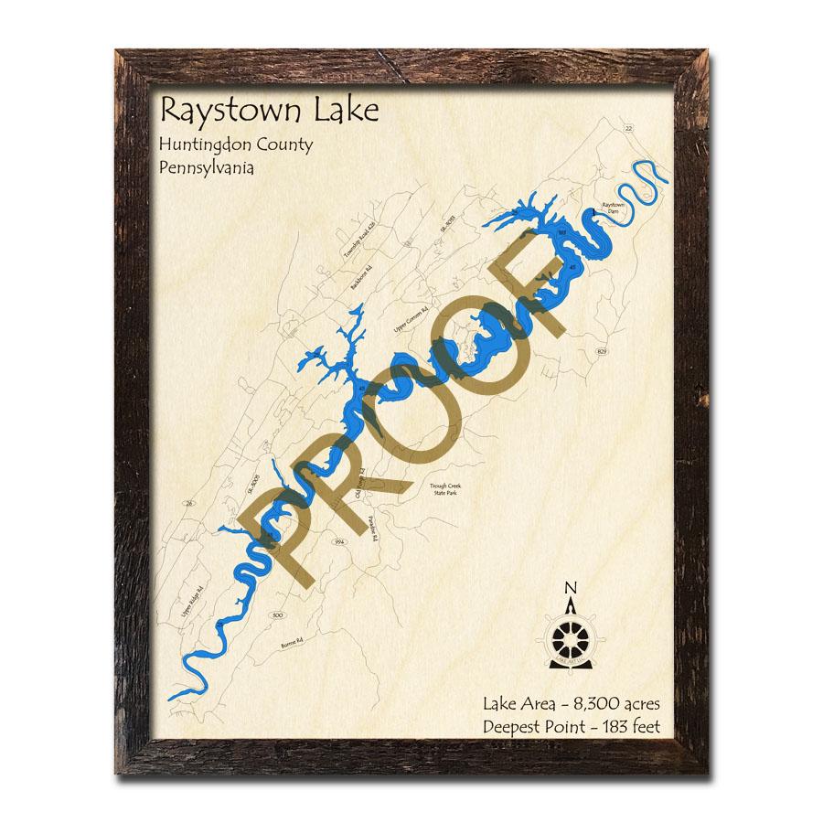 Raystown Lake, PA 3D Nautical Wood Maps