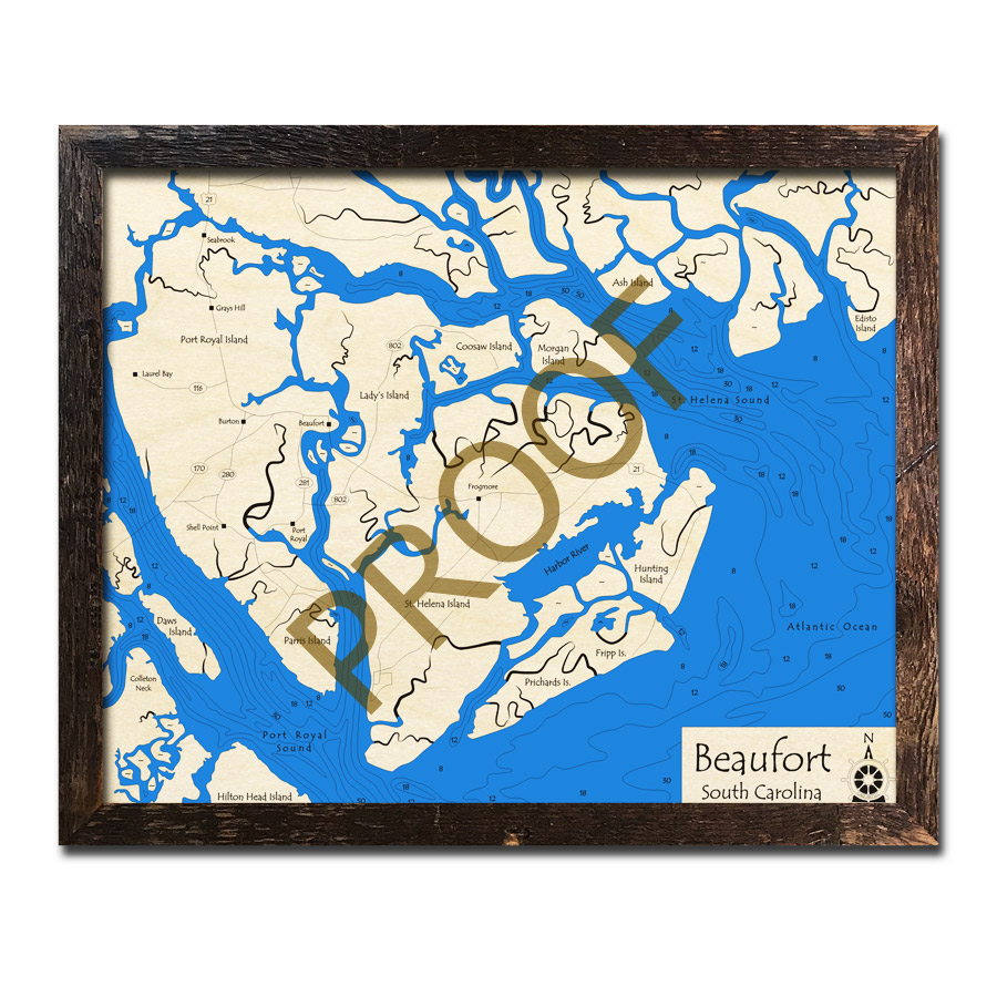 Beaufort Sc 3d Wood Topo Map