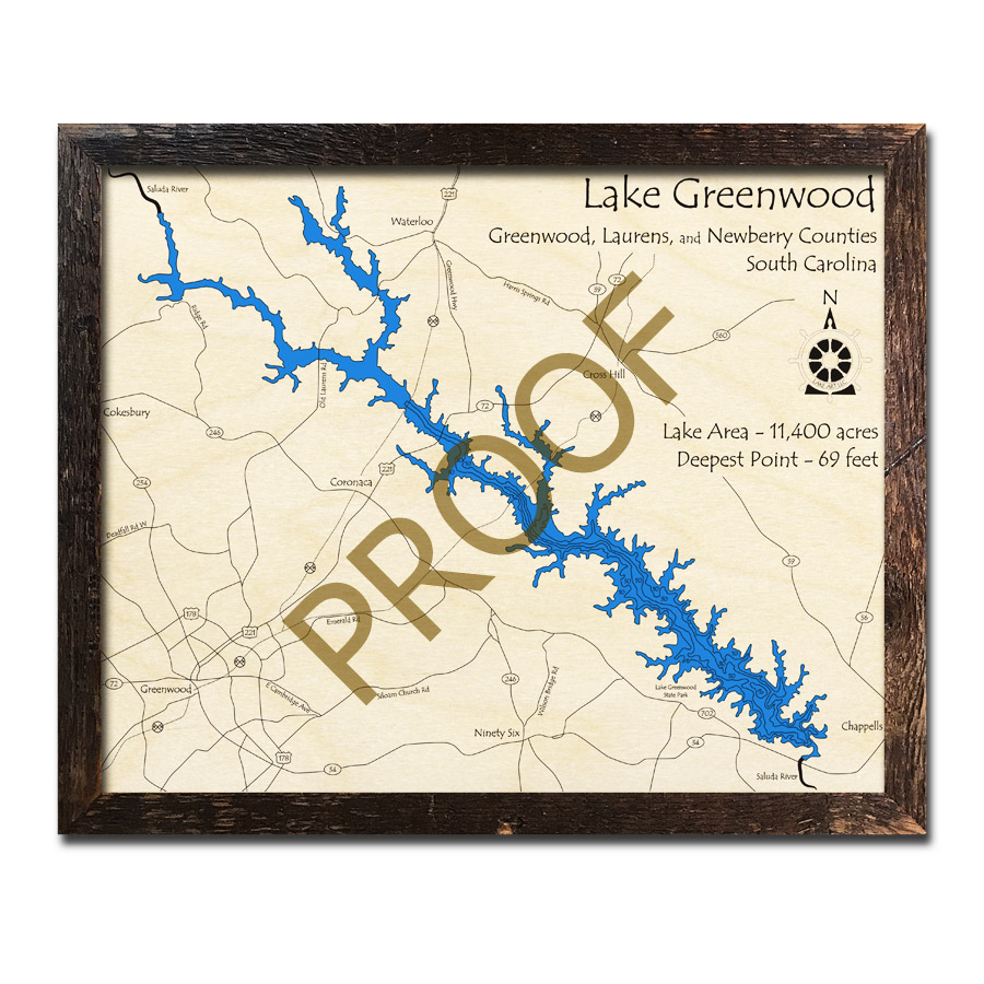 Lake Greenwood, SC 3D Wood Topo Map on gps lake maps, aerial lake maps, navionics lake maps, usgs lake maps, best 2014 lake fork tx maps, hume lake california hunting maps, europe lake maps, dnr lake maps, lake contour maps, national geographic maps, tennessee river navigation chart maps, satellite lake maps, texoma topography maps, campground site maps,