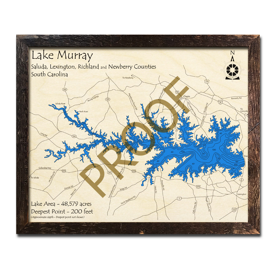 lake murray topographic map Lake Murray Sc 3d Wood Topo Map lake murray topographic map