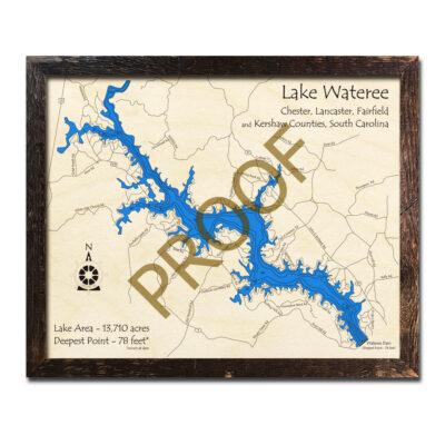 Lake Wateree 3d Wood Map