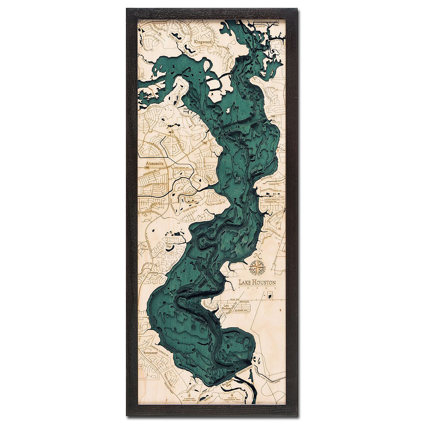 Lake Houston, TX 3D Wood Map | Framed 3D Topographic Wood Chart