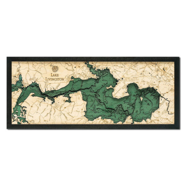 Lake Livingston, TX 3D Wood Map