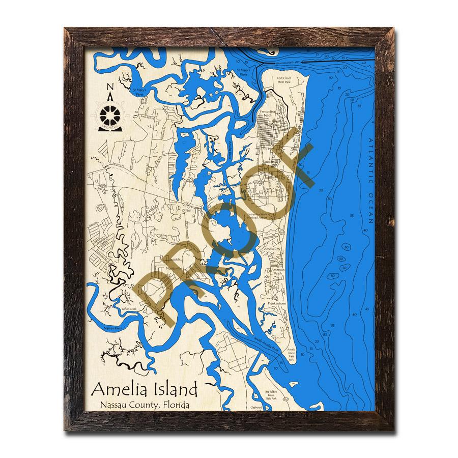 Amelia Island, FL Wood Map | 3D Topographic Wood Chart