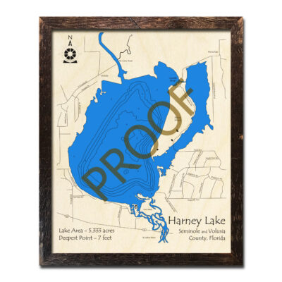 Lake Harney Wood Map in 3d Florida