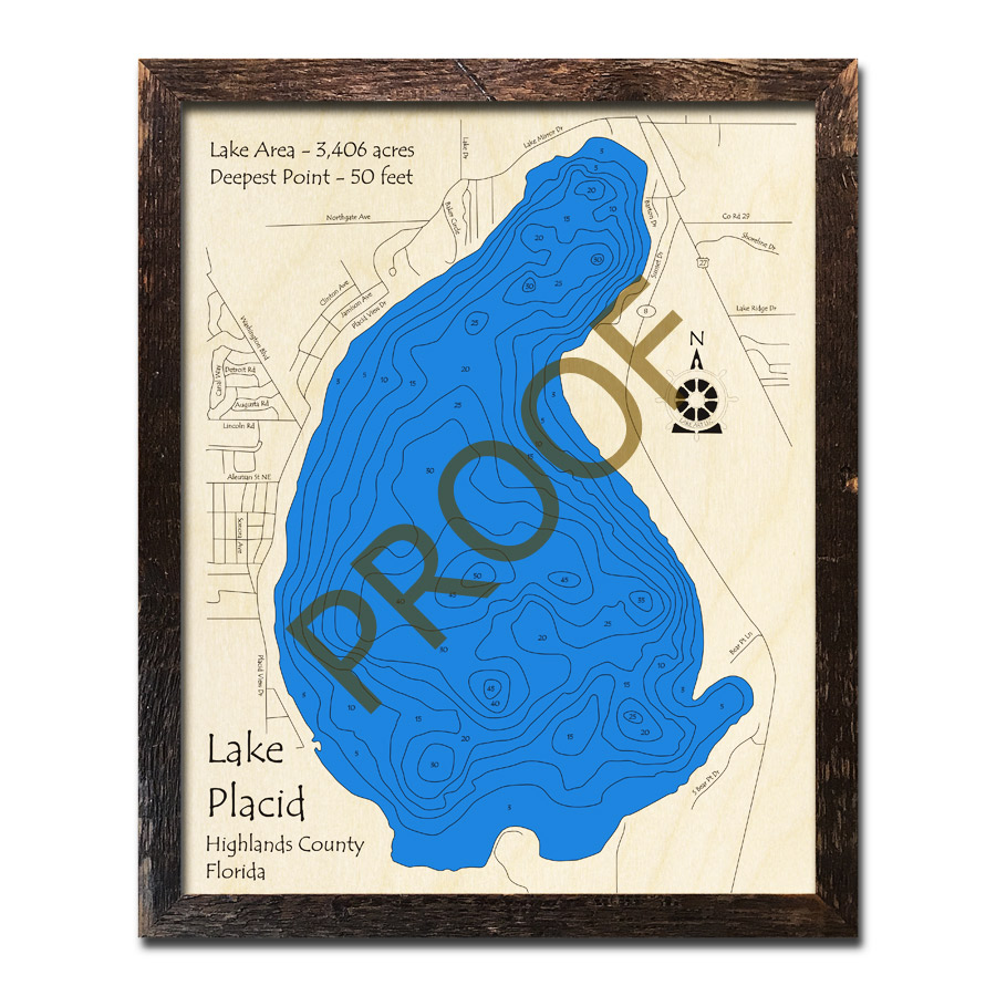 Lake Placid Florida Map.Lake Placid Fl Wood Map 3d Topographic Wood Chart