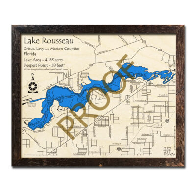 Lake Rousseau wooden map is a great gift for fisherman