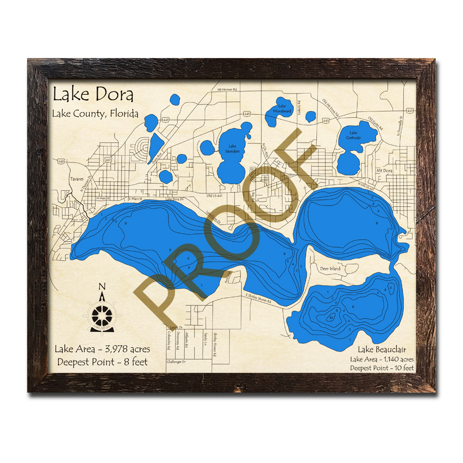 Lake Dora Florida Map.Lake Dora Fl Wood Map 3d Topographic Wood Chart