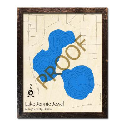Lake Jennie Jewel Wood Map 3D Florida