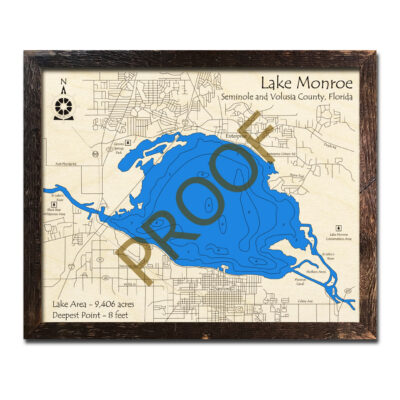 Lake Monroe wood map in 3d