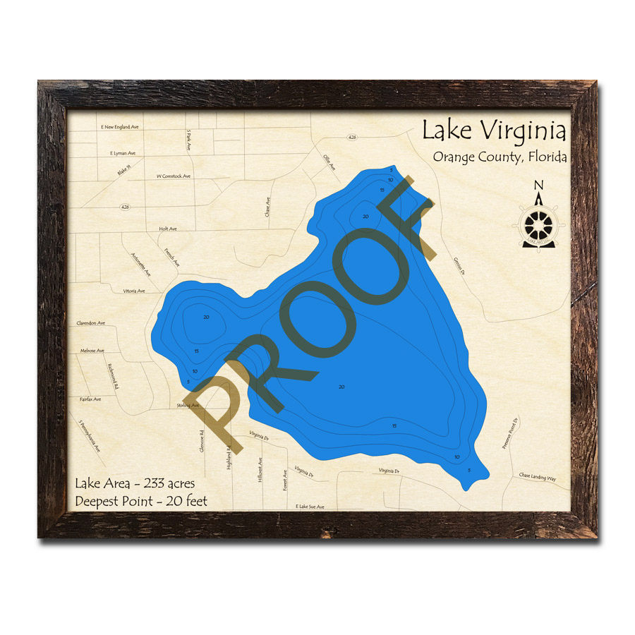 Holt Florida Map.Lake Virginia Fl Wood Map 3d Topographic Wood Chart