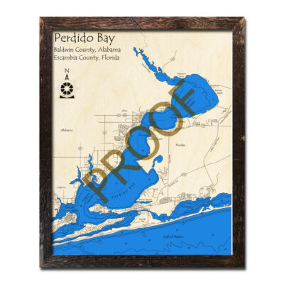 Perdido Bay wood map 3d chart