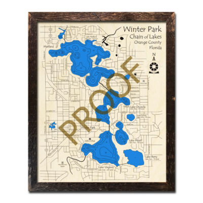Winter Park Chain of Lakes wood map 3d chart