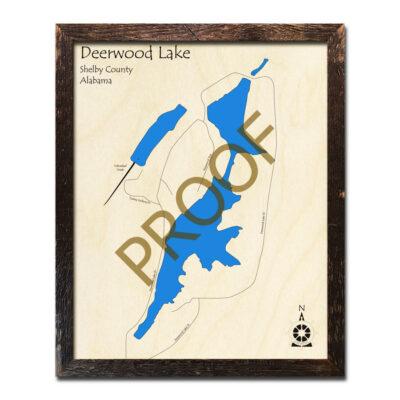 Deerwood Lake AL Wood Map 3D