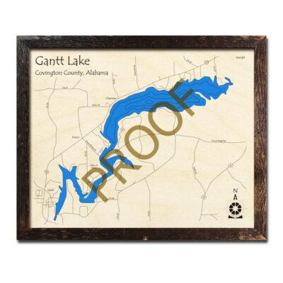 Gantt Lake AL Wooden Map in 3d