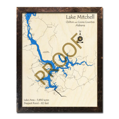 Lake Mitchell AL 3D Wood Map