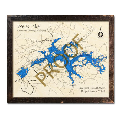 Weiss Lake AL 3d Wooden Map